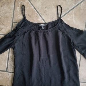 Express sz xs Cold shoulder cutout black top strap